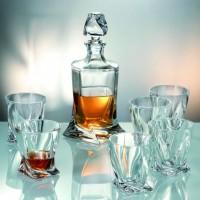 Комплект усукани шише + 6 чаши за уиски серия Куадро Bohemia Crystalite № 99990