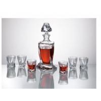 Комплект усукани шише + 6 чаши за ракия серия Куадро Bohemia Crystalite № 8888