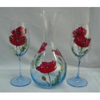 Комплект декантер + 2 чаши за вино /декор макове/ № 6590
