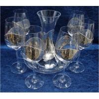 Комплект метализиран декантер + 6 броя чаши за вино № 6611