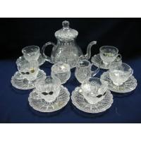 Комплект кристални чаши за чай с чайник,каничка и захарница № 11267