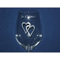 Надпис на чаша за вино сърца № 11