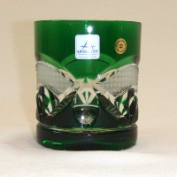Зелена кристална чаша за уиски № 11935
